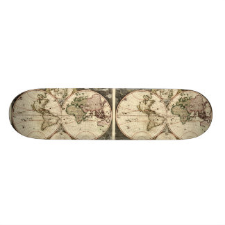 Antique World Map by Nicolao Visscher, circa 1690 Skateboard Deck