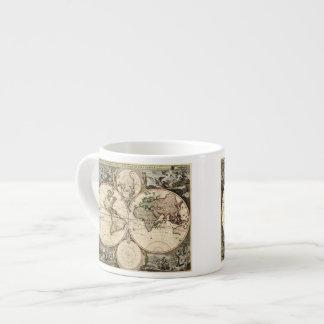 Antique World Map by Nicolao Visscher, circa 1690 6 Oz Ceramic Espresso Cup