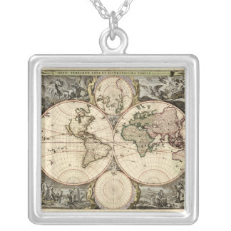 Antique World Map by Nicolao Visscher, circa 1690 Square Pendant Necklace