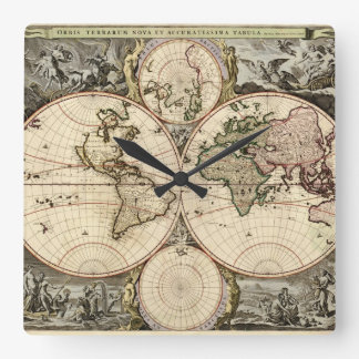 Antique World Map by Nicolao Visscher, circa 1690 Square Wall Clock
