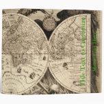 Antique World Map by Philipp Eckebrecht - 1630 3 Ring Binders