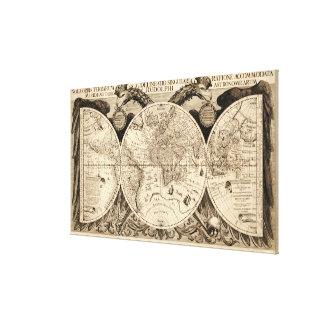 Antique World Map by Philipp Eckebrecht - 1630 Canvas Print