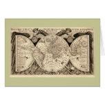 Antique World Map by Philipp Eckebrecht - 1630 Greeting Card