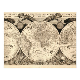 Antique World Map by Philipp Eckebrecht - 1630 Invite