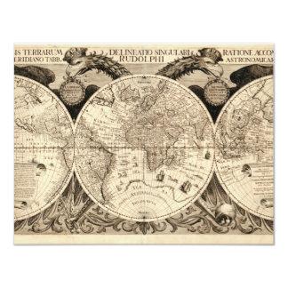 Antique World Map by Philipp Eckebrecht - 1630 4.25x5.5 Paper Invitation Card