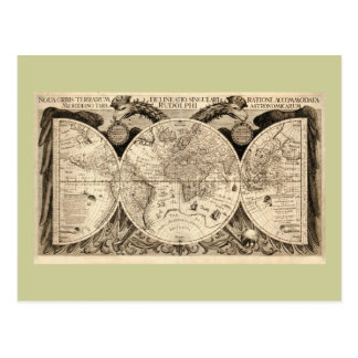 Antique World Map by Philipp Eckebrecht - 1630 Postcards