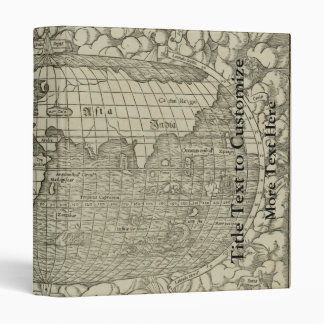 Antique World Map by Sebastian Münster circa 1560 3 Ring Binder