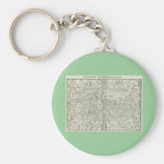 Antique World Map by Sebastian Münster circa 1560 Basic Round Button Keychain
