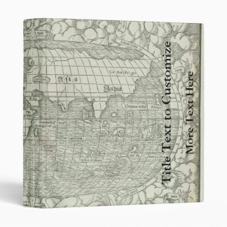 Antique World Map by Sebastian Münster circa 1560 Binders