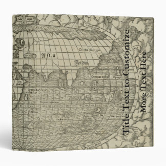 Antique World Map by Sebastian Münster circa 1560 3 Ring Binders