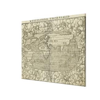 Antique World Map by Sebastian Münster circa 1560 Canvas Print