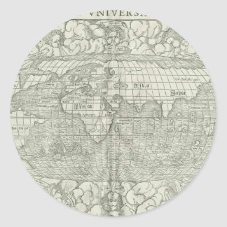 Antique World Map by Sebastian Münster circa 1560 Classic Round Sticker