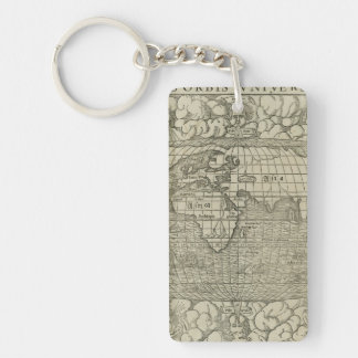 Antique World Map by Sebastian Münster circa 1560 Double-Sided Rectangular Acrylic Keychain