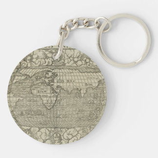 Antique World Map by Sebastian Münster circa 1560 Double-Sided Round Acrylic Keychain