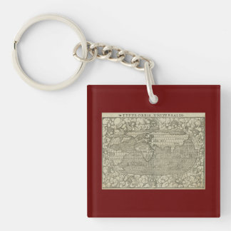 Antique World Map by Sebastian Münster circa 1560 Double-Sided Square Acrylic Keychain