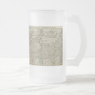 Antique World Map by Sebastian Münster circa 1560 Frosted Glass Beer Mug