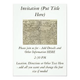 Antique World Map by Sebastian Münster circa 1560 6.5x8.75 Paper Invitation Card