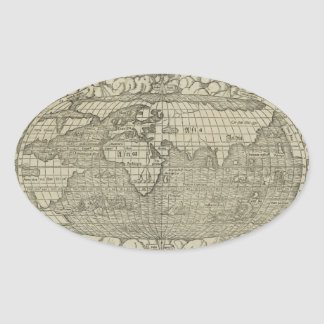 Antique World Map by Sebastian Münster circa 1560 Oval Sticker
