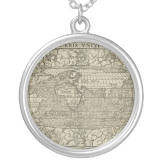 Antique World Map by Sebastian Münster circa 1560 Round Pendant Necklace