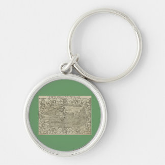 Antique World Map by Sebastian Münster circa 1560 Silver-Colored Round Keychain