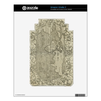Antique World Map by Sebastian Münster circa 1560 Skins For The Kindle 3