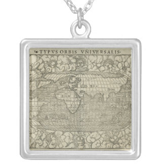 Antique World Map by Sebastian Münster circa 1560 Square Pendant Necklace