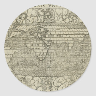 Antique World Map by Sebastian Münster circa 1560 Round Stickers