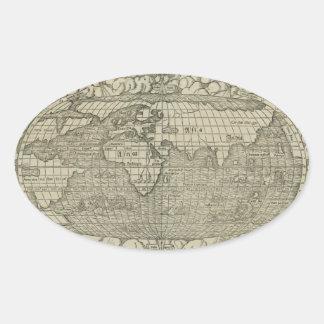 Antique World Map by Sebastian Münster circa 1560 Sticker