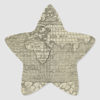 Antique World Map by Sebastian Münster circa 1560 Star Stickers