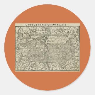 Antique World Map by Sebastian Münster circa 1560 Round Sticker