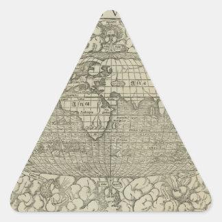 Antique World Map by Sebastian Münster circa 1560 Triangle Sticker