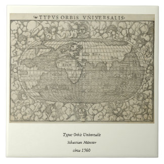Antique World Map by Sebastian Münster circa 1560 Tile