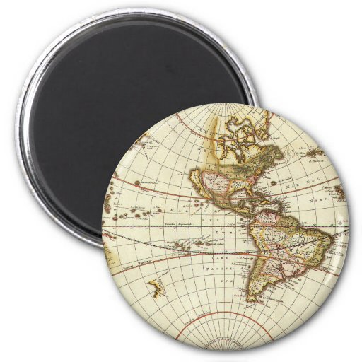 Antique World Map, c. 1680. By Frederick de Wit 2 Inch Round Magnet