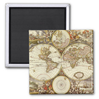 Antique World Map, c. 1680. By Frederick de Wit 2 Inch Square Magnet