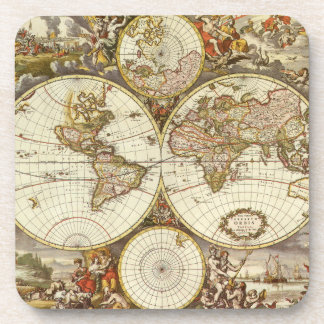Antique World Map, c. 1680. By Frederick de Wit Beverage Coaster