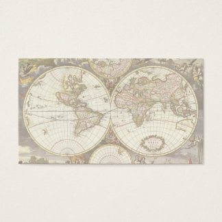 Antique World Map, c. 1680. By Frederick de Wit Business Card
