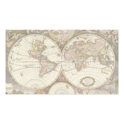 Antique World Map, c. 1680. By Frederick de Wit Business Cards