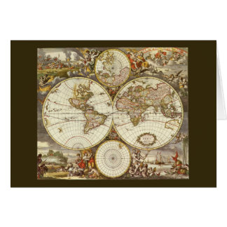 Antique World Map, c. 1680. By Frederick de Wit Greeting Card