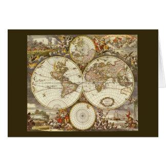 Antique World Map, c. 1680. By Frederick de Wit Card