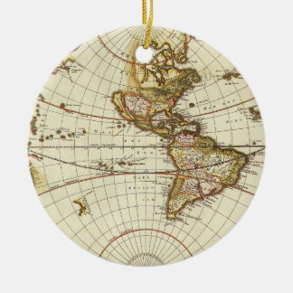 Antique World Map, c. 1680. By Frederick de Wit Ceramic Ornament
