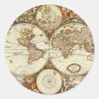Antique World Map, c. 1680. By Frederick de Wit Classic Round Sticker