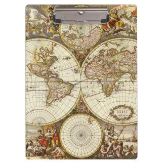 Antique World Map, c. 1680. By Frederick de Wit Clipboard