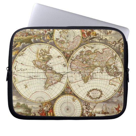 Antique World Map, c. 1680. By Frederick de Wit Computer Sleeve