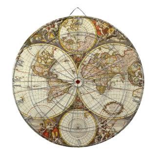 Antique World Map, c. 1680. By Frederick de Wit Dart Board