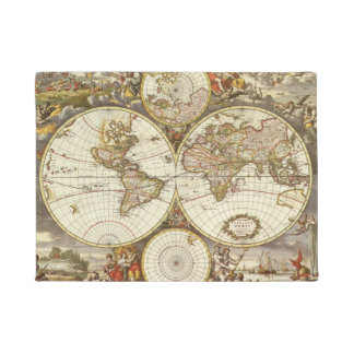 Antique World Map, c. 1680. By Frederick de Wit Doormat