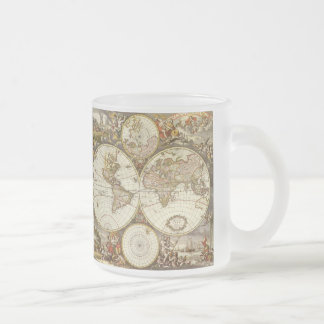 Antique World Map, c. 1680. By Frederick de Wit Frosted Glass Coffee Mug
