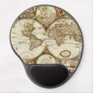 Antique World Map, c. 1680. By Frederick de Wit Gel Mouse Pad