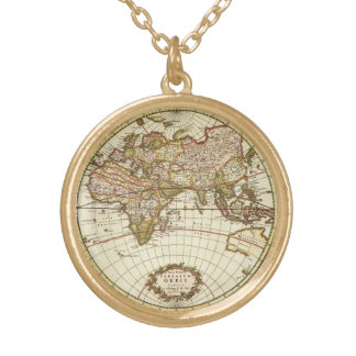 Antique World Map, c. 1680. By Frederick de Wit Gold Plated Necklace