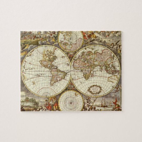 Antique World Map, c. 1680. By Frederick de Wit Jigsaw Puzzle