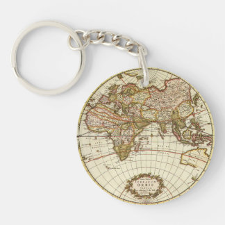 Antique World Map, c. 1680. By Frederick de Wit Keychain